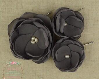 Grey Flower Clip - Grey Hair Flower - Grey Flower Girl - Grey Bridesmaids - Grey Hair Accessory - Grey Wedding - Grey Flower Brooch - Grey
