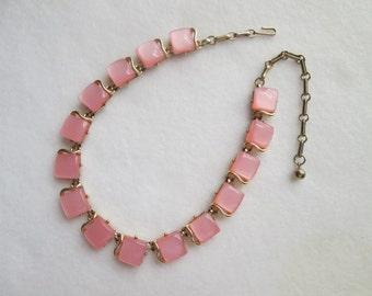 Vintage Coro Pink Thermoset Adjustable Single Strand Necklace Gold Tone Metal