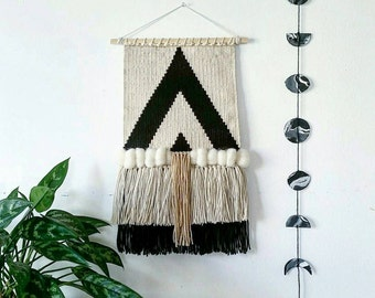 "Woven Wall Hanging, Handmade Tapestry, Mid Century Modern, Boho Decor, Macrame Wall Hanging,  Black and White Triangles ""Bohem"""