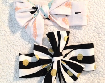 Baby Head wraps, Mint & Pink Blush Feathers or Black/White stripes w/ gold Dots,Cotton Non-stretch Head bands, Baby Gifts ( Prints may Vary)