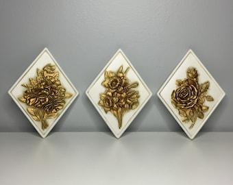 3 vintage ceramic white and gold flower wall decor set