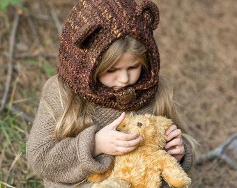 Bear Hooded Cowl, Knit Bear Hood, Knitted Hooded Bear Cowl Toddler, Kids Hoodies, Hooded Animal Cowl, Toddler Halloween
