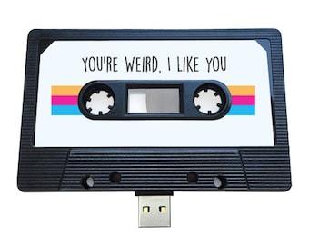 4GB/8GB/16GB You're Weird, I Like You - USB Mix tape - Retro Personalised Gift - Funny , Birthday, Boyfriend , Girlfriend , Cute Flash Drive
