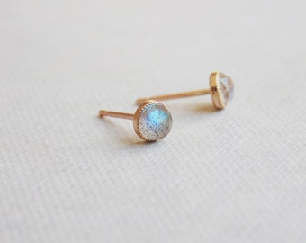Small tiny 4mm round 9ct gold grey faceted labradorite gemstone studs earrings
