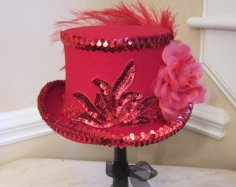 Red Top Hat Stevie Nicks Inspired - Red Sequins
