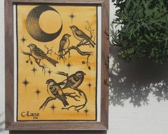 Original framed bird  illustration.