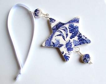 Christmas Ornament - Christmas Decoration - Tree Decoration - Blue and White - Star Decoration - Willow Pattern- Xmas Tree Ornament Handmade