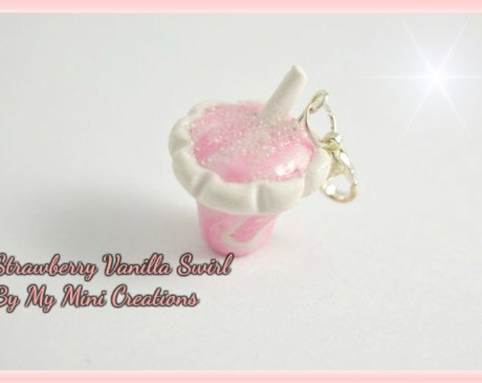 Strawberry Vanilla Swirl Drink Charm, Polymer Clay, Miniature Food, Miniature Food Jewelry