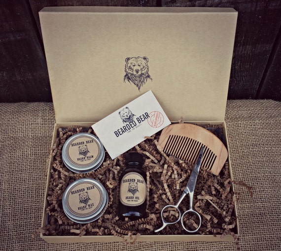 beard grooming kit oil wax balm cherry wood comb scissors all included. Black Bedroom Furniture Sets. Home Design Ideas