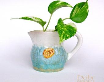 Ceramic  pitcher, Blue, White, Beige, Ready to ship