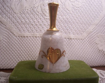 Bohemian 22Karat Gold Overlay Handle and Hearts Bell