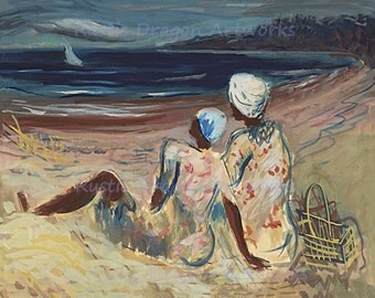 """Victor Laredo """"On the Beach"""" WPA Art 1935 Reproduction Digital Print Two Women Picnicking on Beach Sailboat Inlet"""