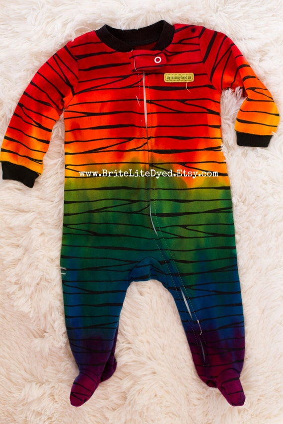 Tie Dye Infant Footed Pajamas 6 MONTHS Baby by BriteLiteDyed