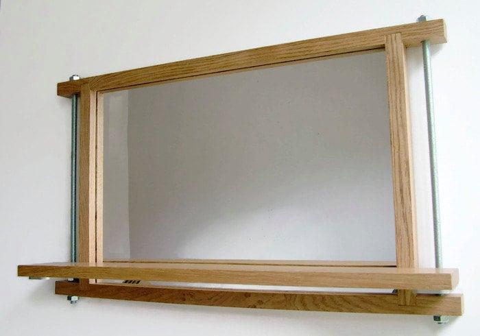 Industrial mirror shelf mirror oak mirror wall mirror wood for Full length mirror with shelf