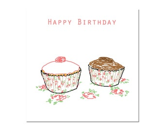 Cupcakes Happy Birthday greetings card
