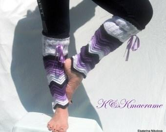 Leg Warmers, High Socks, Boot Socks, Zig-zag Handmade Leg Wormers, Chevron pattern