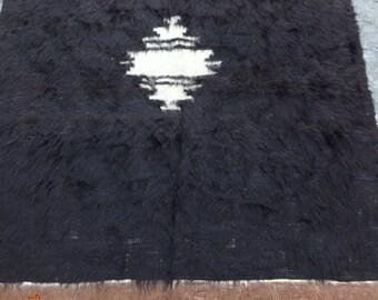 47x63in. or 120x160cm One-of-a-kind Anatolian handwoven vintage fuzzy kilim rug,Tribal kilim rug