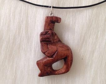 Vintage hand carved mens necklace