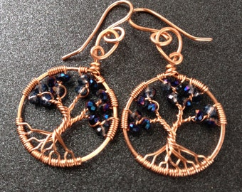 Alexandrite Earrings Tree of Life June Birthstone Alexandrite Tree-Of-Life Copper Tree of Life Leo Chakra 55th Anniversary Healing Crystal