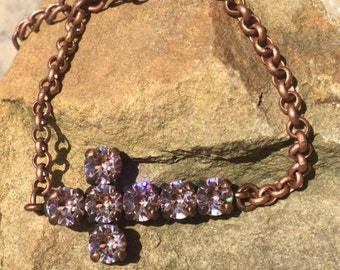 8mm swarovski sideways cross bracelet