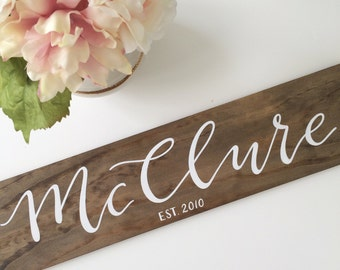 Family name wood sign | hand lettered family name sign