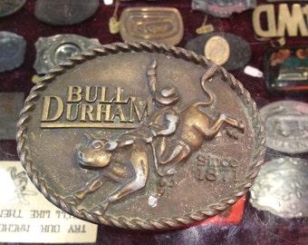 Vintage Metal Bull Durham Tobacco Co. Belt Buckle