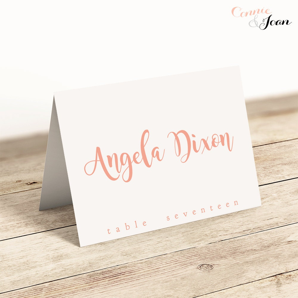 Printable folded place cards table name cards template for Wedding place name cards