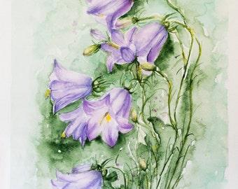 Flowers painting, Watercolor flowers, watercolor art, watercolors painting, Art birthday gift, Purple painted flowers, Original Watercolor