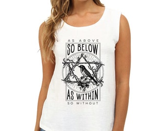 As Above So Below Pentagram Bird Sleeveless Cotton Shirt (cotton shirt, bird shirt, pentagram shirt, hermes shirt, esoteric shirt, occult)