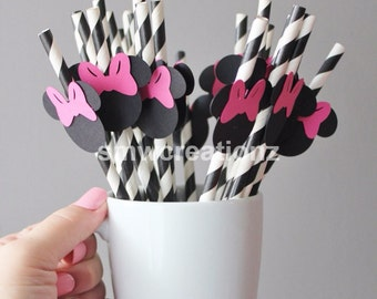 Custom Mickey and or Minnie Mouse Paper Straws - 12 count- Custom Straws- Birthday Party- Party Decor- Party Favors