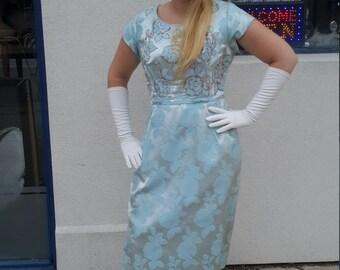 Blue brocade vintage dress 1960 larger size from RCMooreVintage