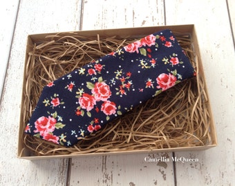 Men's necktie, skinny necktie, pink floral on navy necktie