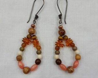 "Earrings dangle loop style ""amber and stones"""