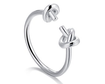 S925 18K 14K 9K White Gold Rose Solid Gold Hand Made Knot Ring