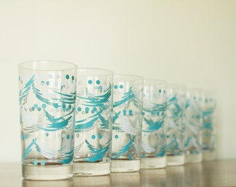 Vintage Drinking Glass Set of 7 - Turquoise and White - Mid Century