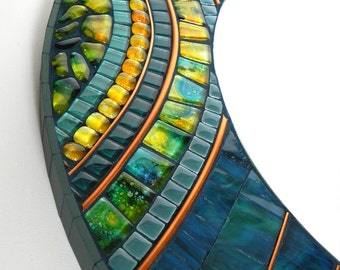 Mosaic Art - Mosaic Mirror - Round, Wall Decoration in Blue, Turqoise, Yellow and Copper,