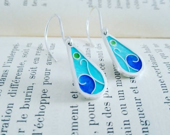 Earrings turquoise enamel stovepipe