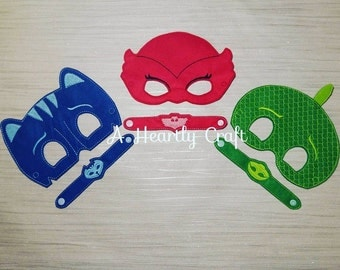 PJ Masks Mask Set of 3 - Superhero Masks & Bracelets - PJ Masks - Owlette Mask - Party Favor - Celebration Gift - Halloween Masks - Gift
