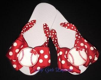 Ready to Ship Baseball Bow Flip Flops with a tiny bow on the Baseball Feltie