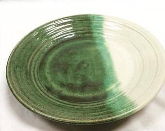 Ceramic Green+White Dinner Plate