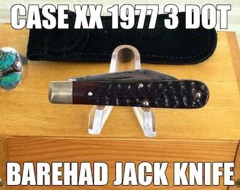 Vintage 1977 Case XX 3 dot Jigged Delrin Bare  Head Jack Knife