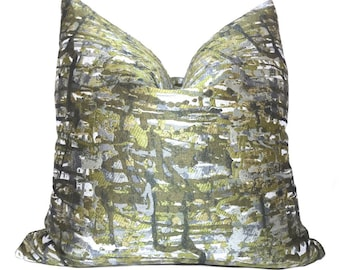 "Jackson Pollock Style Abstract Paint Splatter Green Gray Pillow Cushion Zipper Cover, Fits Lumbar 16"" 18"" 20"" 22"" 24"" Insert"