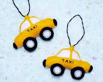 Handmade Felt New York City Taxi Christmas Ornament