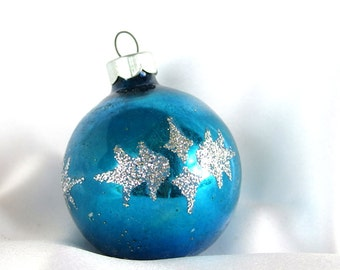 Vintage Blue Christmas Ornament,  Silver Glittered Holly Christmas Ornament