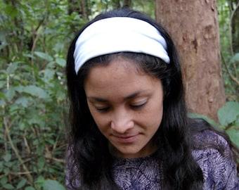 White SCRUNCH-BACK Headband // Adult Headband, Wide Headband, Thick Headband, Workout Headband, Gym Headband
