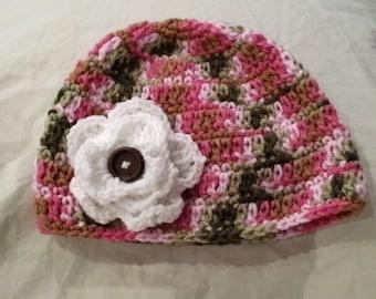 Pink Camouflage Hat newborn to 12 months