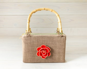 Tan Purse with Red Rose Felt Flower and Bamboo Handles