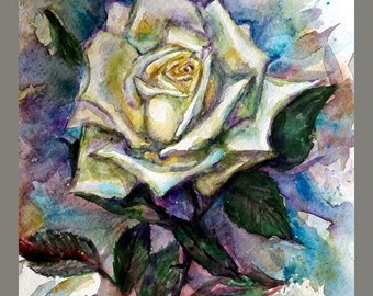 "Original Water color Painting, Yellow Rose, 10""x8"", 160470"