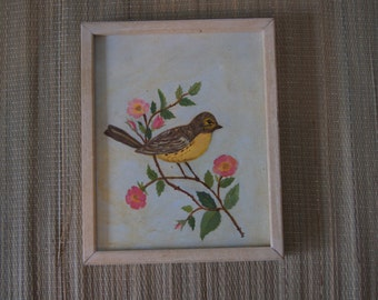 Vintage 1950's - Framed oil painting of a bird with pink flowers 9x11 in a wood frame