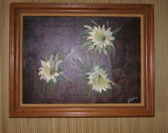 VIntage 1970's - Signed Millie 19x15 Framed Oil Painting of White Flowers on a Brown Background